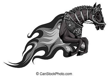illustration., 馬, モノクロである, シルエット, 炎, tongues., ベクトル