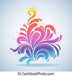illustration., 鮮艷, 飛濺, 摘要, 元素, 矢量, 設計