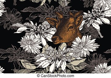illustration., 鹿, seamless, hand-drawn, ベクトル, chrysanthemums., 背景, 花