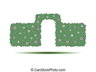 illustration., .., 고립된, 요소, 벡터, 녹색의 배경, 산울타리, 아치, 백색, 조경술을 써서 녹화하다, design.