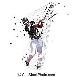 illustration., 배트, 고립된, polygonal, 선수, 벡터, 검정, 낮은, 앞뒤로 흔들림, 정면, 야구, 저지, 보이는 상태