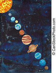 illustration., 해왕성, 공간, isolated., 토성, 체계, watercolour, 손, 화성, 수은, 배경, 명왕성, 태양의, 비너스, 그어진, 천왕성, 태양, 달, 지구, jupiter.