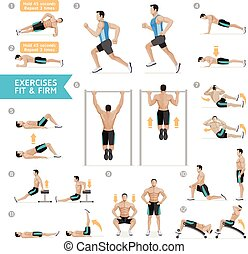 illustration., 호기성 운동, 벡터, 적당, exercises., 남자