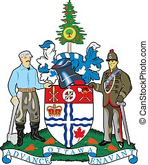 illustration, 13, manteau, provinces, ottawa, une, territoires, vecteur, bras, canada.