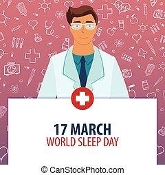 illustration., 17, monde médical, march., day., holiday., vecteur, sommeil, médecine, mondiale