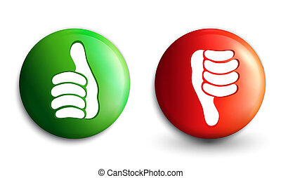 Illustration 3d buttons icons thumb up and thumb down green...