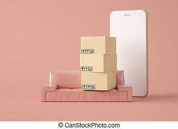 illustration., 3d, carboard, boîtes, sofa.