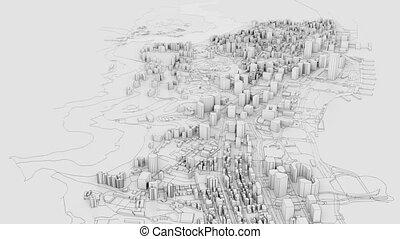 illustration, 3d, contour, vidéo, ville, blanc, model.
