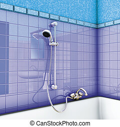 hand shower on bathroom - illustration 3d, hand shower on...