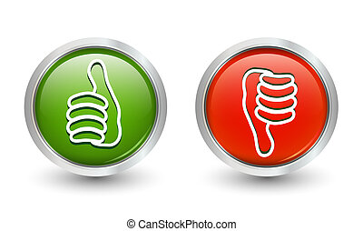 Illustration 3d icons buttons thumb up green and thumb down...