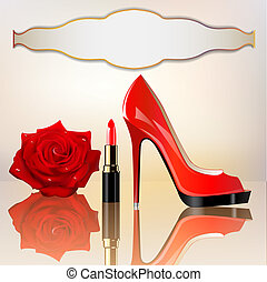 background for the message with lipstick a shoe and a rose -...