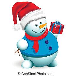 snowman - illustration, a Christmas snowman on a white...