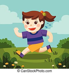 A cute girl running around the playground. She is so adorable.