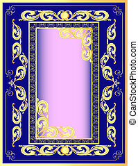 a dark blue background a frame with a gold pattern