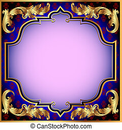 illustration a dark blue background with with a gold vegetative ornament and a pink shade