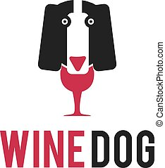 Illustration a dog and a bottle of wine in negative space