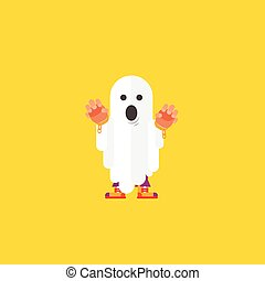 illustration a ghost character for halloween in flat style -...