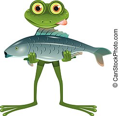 A Goggle-Eyed Frog with a Fish - Illustration A Goggle-Eyed...
