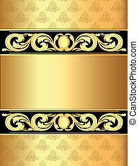 a gold background a frame with a vegetative ornament