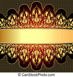 gold background with a strip with a gold vegetative ornament