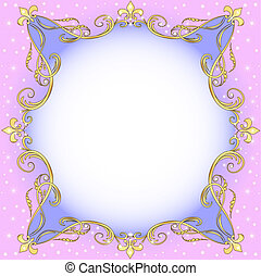 light background with gold (en) an ornament and stars -...