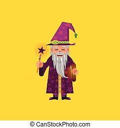 illustration a magician character for halloween in flat style