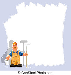 painter - illustration a painter with a roller and white...