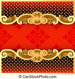 illustration a red background with a strip with a gold vegetative ornament and a grid
