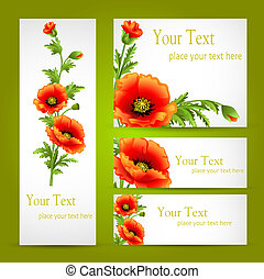 a set of cards with poppy flowers