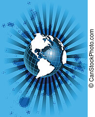 white globe on blue