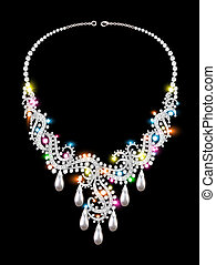 a woman's necklace of precious stones on black background