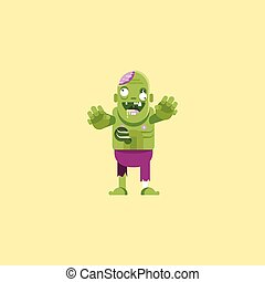 illustration a zombie character for halloween in flat style