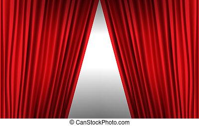 illustration., abertura, detail., alto, realístico, vetorial, cortina, vermelho