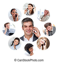 Illustration about business communication against a white ...
