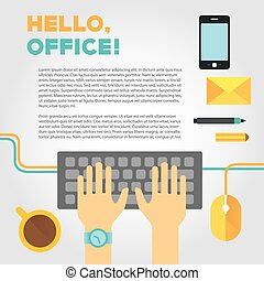 Illustration about office or coworking life with typing hands and stuff
