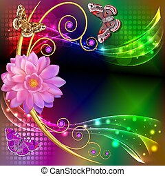illustration abstract background with flowers and butterflies with gems