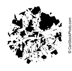 Abstract Black Explosion on White Background