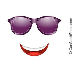 Abstract Fun Face with Mouth and Sunglasses