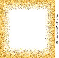 Abstract Golden Frame with Sparkles on White Background