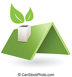 illustration, abstract green roof with green sheet