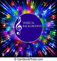 Illustration abstract musical background with bright light spots, notes and stripes
