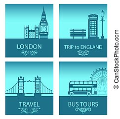 Abstract Postcards for Trip Of England with Silhouette Background of Abstract London Skyline
