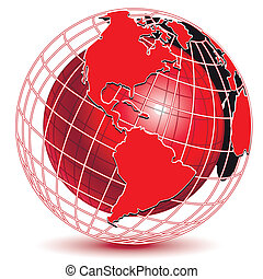red globe - illustration abstract red globe on white...