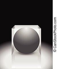 illustration., abstrakcyjny, editable, kula, vector., cube., 3d