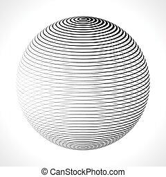 illustration., abstrakcyjny, lines., kula, wektor, pasy, 3d