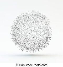 illustration., abstrakcyjny, sphere., wektor, 3d