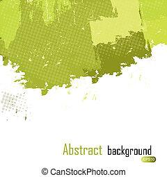 illustration., abstrakcyjny, text., malować, wektor, zielony, plamy, tło, miejsce, twój