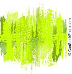 illustration., abstrakt, måla, vektor, grön, stänk