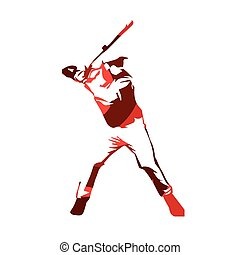illustration., abstratos, isolado, jogador, vetorial, massa basebol, vermelho