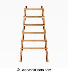illustration., achtergrond., houten ladder, vrijstaand, realistisch, witte